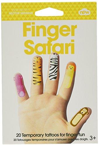 NPW-USA Finger Safari Animals Temporary Tattoos (20 Count)
