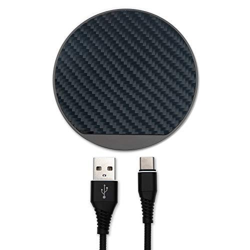 4smarts Ligno Wireless Charger Ladepad, 10W Schnelles Kabelloses Ladegerät Qi Induktive Ladestation für iPhone 12, Pro Max, XS, SE 2020, Galaxy S20, Note 20 und alle Qi-fähigen Geräte - Karbon