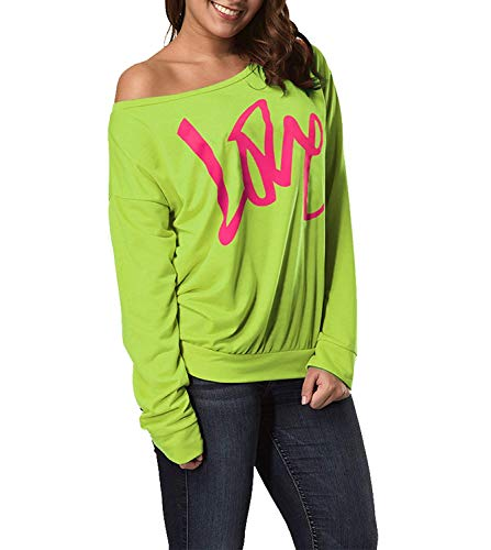 Smile Fish Frauen Casual Love Printed Pullover aus der Schulter mit Langen ?rmeln Slouchy Shirt der 80er Jahre Kost¨¹m Kost¨¹me(Neon Green-S)