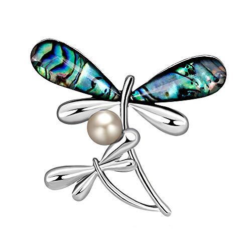 YAZILIND mar Concha Broche libélula Forma Rhinestone Pearl aleación Pins Animales Ramillete joyería para Mujeres