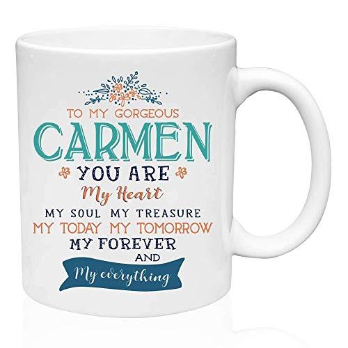 N\A Regalos del día de San Valentín para Ella: para mi Hermosa Carmen, Eres mi corazón, mi Alma, mi Tesoro, mi Hoy, mi mañana, mi para Siempre, Regalos de cumpleaños para la Esposa