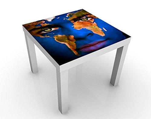 Apalis Design Tisch Earth Boy 55x55x45cm Beistelltisch Couchtisch Motiv-Tisch, Tischfarbe:Weiss;Größe:55 x 55 x 45cm