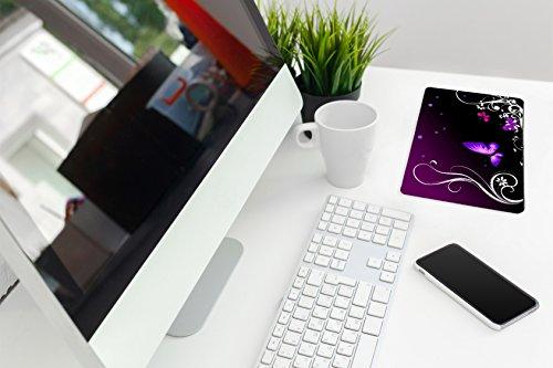 Silent Monsters Mauspad Größe S (240 x 200 mm) Stoff Mousepad Design: Purple Butterfly, Vernähter Rand, geeignet für Büro und Gaming Maus