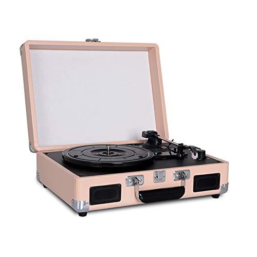 JAYLONG Tocadiscos Record Player 3 velocidades con Altavoces estéreo incorporados, soporta Salida USB/RCA/Auriculares jack/MP3/teléfonos móviles reproducción de música, diseño de la Maleta,Gold
