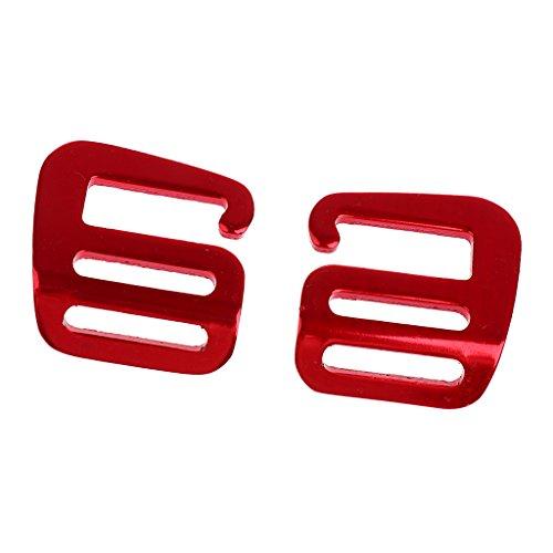 Non-brand 1 Paar G Haken Outdoor Gurtbandschnalle Für Rucksackgurt 25mm - rot