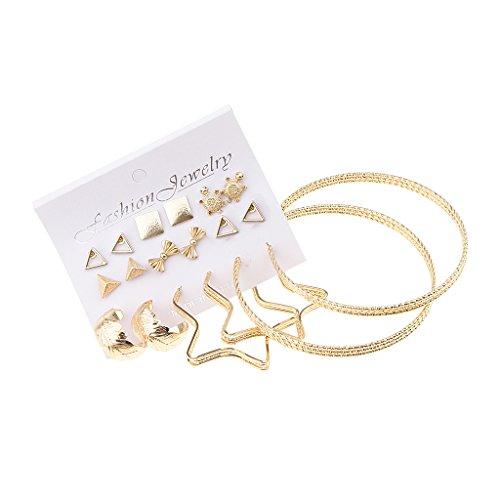 joyMerit 9 Pares Mezclado Bola Stud Big Heart Loop Pendientes Establece Joyería de Moda de Las Mujeres - Oro 1