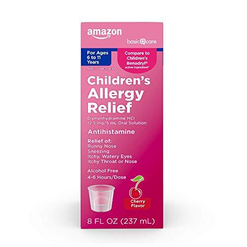 Amazon Basic Care Children's Allergy Relief, Pink cherry, 8 Fl Oz