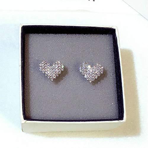 FEARRIN Stud Earrings Luxury Heart Sterling Silver Stud Female Romantic Zircon Earrings Forever Love for Woman Gifts