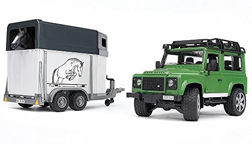 Bruder-02592 Camión de Transporte Caballos Land Rover, Color Negro (Black), 67 Centimeters (2592)