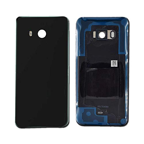 Black Rear Glass Battery Cover Back Housing Door Case Cover with Adhesive Parts Replacement for HTC U11
