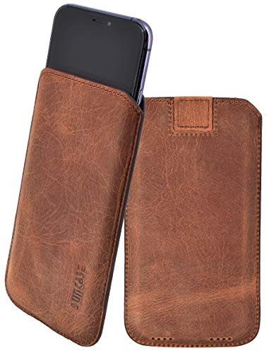 Suncase *Ultra Slim* Leder Etui Tasche Handytasche Ledertasche Schutzhülle Case Hülle (mit Rückzuglasche) kompatibel mit iPhone 11 (6.1