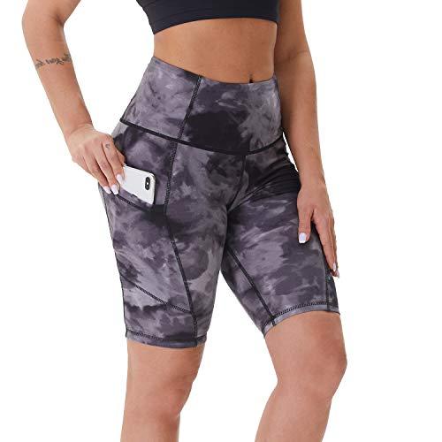 NexiEpoch Yoga-Shorts für Frauen – Hohe Taille, Bauchkontrolle, Stretch-Biker-Shorts mit Seitentaschen für Workout, Training (20,3 cm, Schwarz mit Batikfärbung, XS)