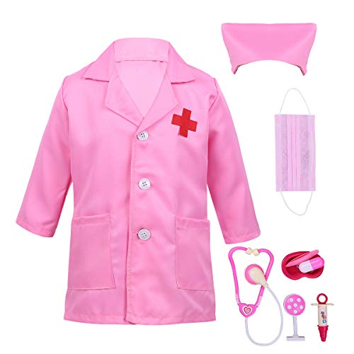 Alvivi Uniforme de Trabajo Bata Blanca Abrigo de Laboratorio Farmacia Estetoscopio de Juguete Traje...