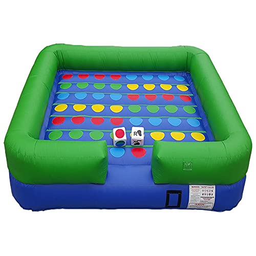 Pogo Bounce House Twister Crossover Inflatable Interactive Game - 13' Feet x 13' Feet - Includes: Blower, Stakes, & (2) Over-Sized Dice