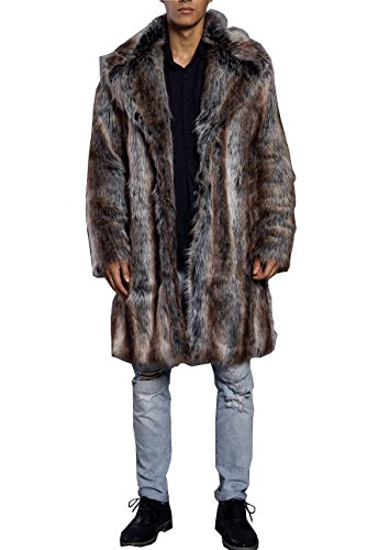 Lafee Bridal Men's Luxury Faux Fur Coat Jacket Winter Warm Long Coats Overwear Outwear Brown L