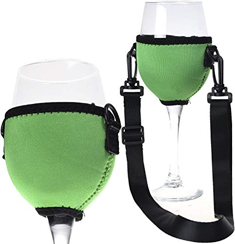 Beautyflier Assorted Colors Wine Glass Insulator/Drink Holder/Neoprene Sleeve with Adjustable Neck Strap For Wine Tasting Festival (Green)