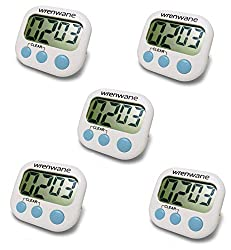 Wrenwane Digital Kitchen Timer (Upgraded), No Frills, Simple Operation, Big Digits, Loud Alarm, Magnetic Backing, Stand, White (Pack of 5)