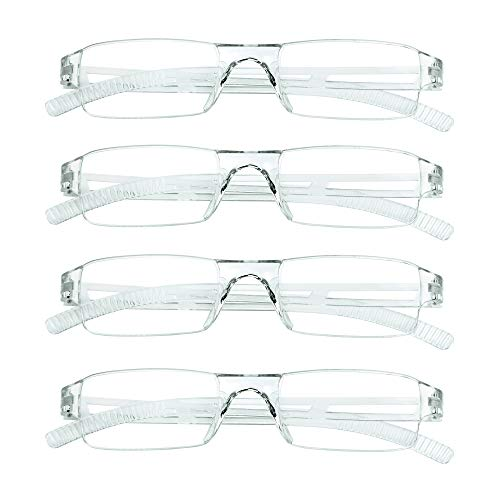 4 Pairs Reading Glasses, Blue Light Blocking Glasses, Computer Reading Glasses for Women and Men, Fashion Rectangle Eyewear Frame(4 Clear,+2.00 Magnification)
