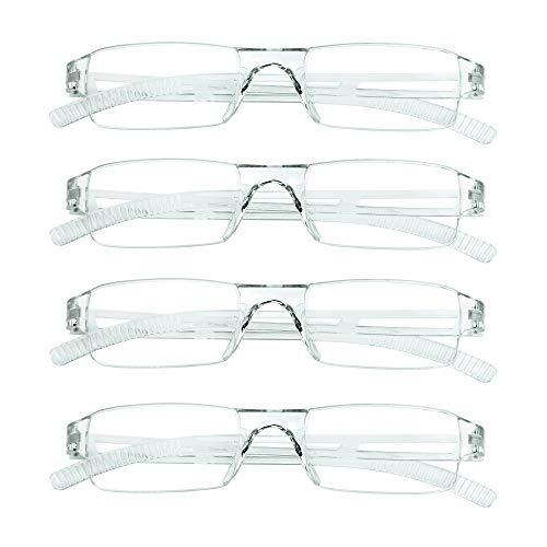 4 pares de gafas de lectura, gafas de bloqueo de luz azul, gafas de lectura para computadora para mujeres y hombres, marco cuadrado de moda (4 Trasparente, 2.25 aumentos)