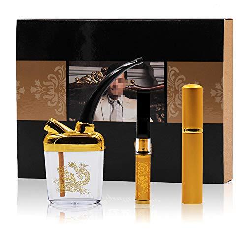 QqHAO 3-Piece Set cachimba Pot, Multi-Filtro de Cigarrillo de la circulación Fuma de la Boquilla y la Cubierta, Regalo para los Hombres,C