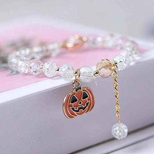 FLAIGO Halloween Bracelet Pumpkin Charm Bracelet Amber Jewelry for Women Halloween Hand Bracelet with Ring Props Gift Party Hand Bracelet Decoration (C)