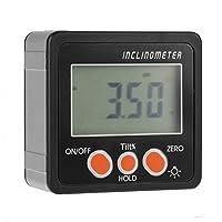 デジタル分度器、デジタル磁気ベベルボックス傾斜計角度計メーター分度器4 x 90°デジタル傾斜計(黒)