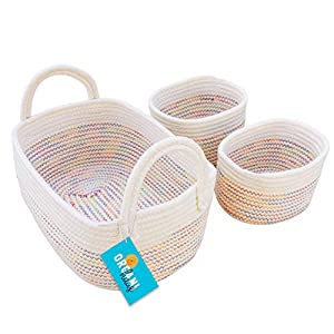 OrganiHaus Set of 3 Mini Woven Cotton Rope Nursery Baskets with Handles, Decorative Baby Room Cute Rustic Basket Storage Organizer Bin for Toys, Diapers, Crafts, Clothes, Laundry – Rainbow Stitches