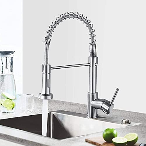 Küchenarmatur Wasserhahn Küche mit Brause, 360° schwenkbar Spültischarmatur, Mischbatterie aus Edelstahl, Einhebelmischer Spültischbatterie (Silber)