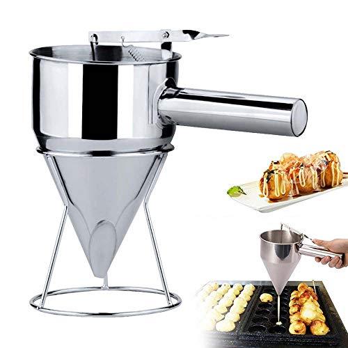 MMIAOO Entonnoir en acier inoxydable à piston pour la maison, la cuisine, la boulangerie, l'utilisation de gâteaux, desserts et support