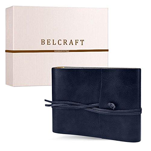 Belcraft Tivoli Fotoalbum aus recyceltem Leder, Handgearbeitet in klassischem italienischem Stil, Geschenkschachtel inklusive, A5 (16x21 cm) Ozean