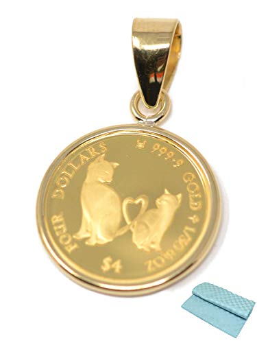 2021年 限定 コインペンダント ねこ Mother's Love Coin 猫 ミーチョ ミーチャ 1/30オンス しっぽ ハート 可愛い 純金 24金 24k 枠 18金 18K (お磨きクロス付 ギフトセット)