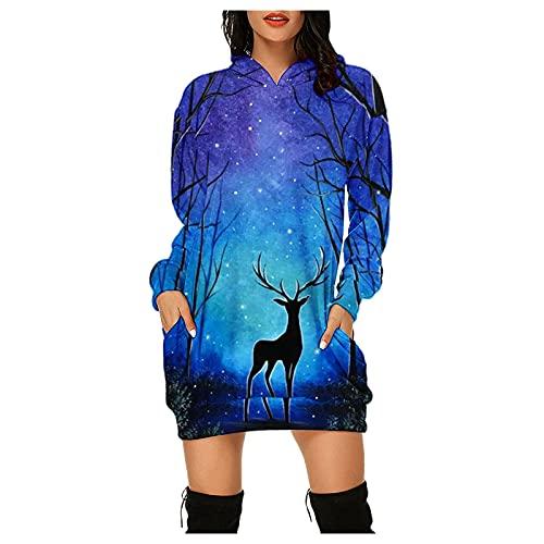 Mädchen-Kleid, Sommerkleid, Partykleid, kurzes Kleid für Damen, modisch, lässig, Hip-Pocket, lange Ärmel, (#002) Dunkelblau, Medium