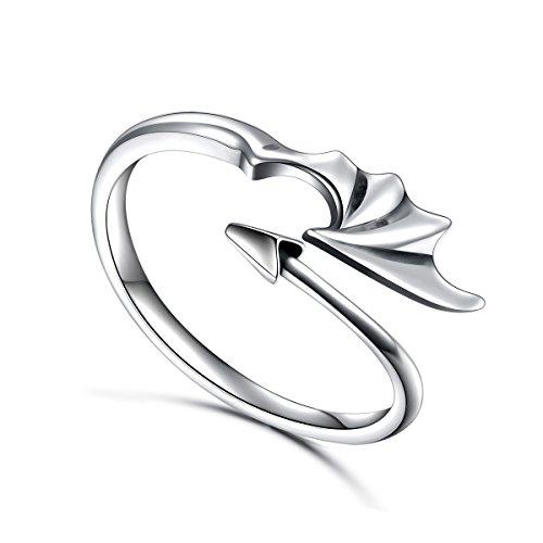 DAOCHONG Ring für Männer Sterling Silber Drachenring Teufel Schwanz Pfeile Verstellbarer Öffnen Sie den Ring