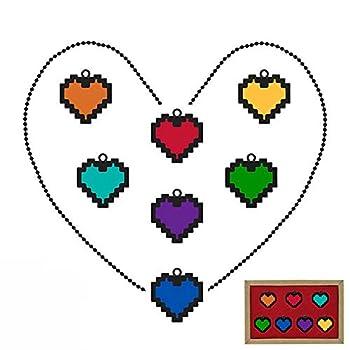 Levin_Art 7 Pcs Undertale Sans Frisk Love Necklace Determination Bravery Pendant Keychain Set Costume Accessories