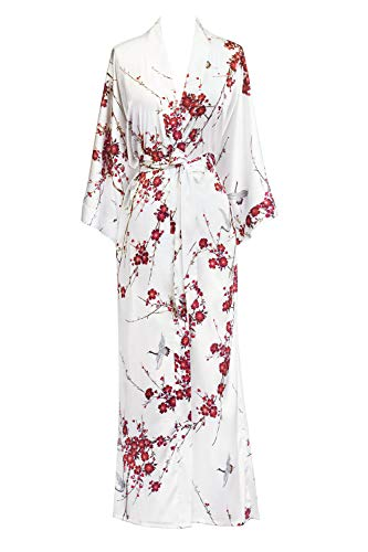 Old Shanghai Women's Kimono Robe Long - Watercolor Floral, Cherry Blossom & Crane- White