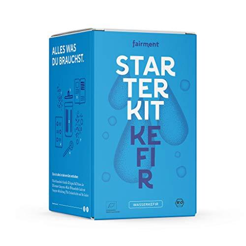 fairment Starterkit Wasserkefir - veganen Wasser-Kefir einfach selber machen - Starterset enthält Bio Kefirkristalle (Kefirpilz), Glas, Zutaten, Zubehör und Rezepte