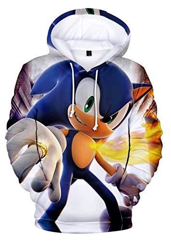 JOAYIN Kinder Sonic Sweatshirt Sonic The Hedgehog Kapuzenpullover Trendiger Mode Hoodie mit 3D-Digitaldrucks für Jungen und Mädchen(S)