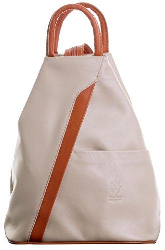 Primo Sacchi Damen Italienisch Weiche Napa Hellbeige und beige Leder Oberer Griff Umhängetasche Rucksack