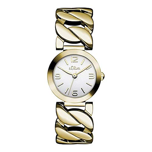 s.Oliver Damen-Armbanduhr Analog Quarz IP Gold SO-15126-MQR