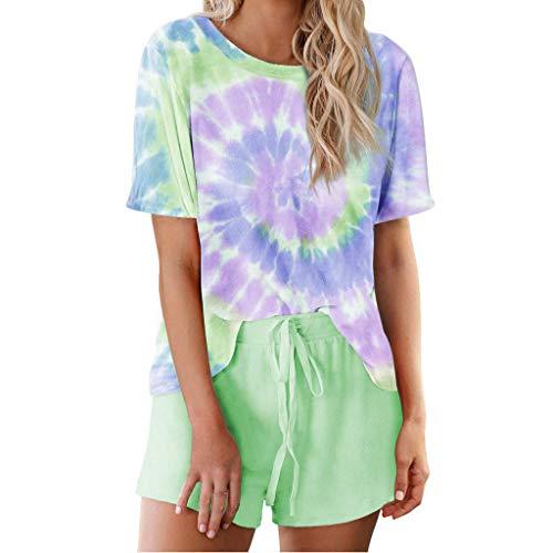 Xniral Damen Pyjama Schlafanzug Kurz Tie-Dye Bedruckte Nachtwäsche Nachthemd Hausanzug Set Kurzarm Rundhals-Ausschnitt für Sommer (B Grün,L)