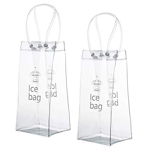 XLKJ 2 Pcs Bolsa de Vino de Hielo Transparente, Champagne Cubitera Plegable, Bolsa de Refrigerador con Mango para Cerveza Vino Blanco Bebidas Heladas