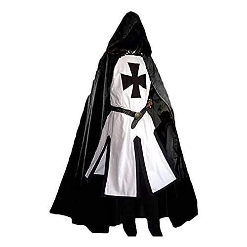 GUOQUN-SHOP Caballeros Medievales para Hombre Disfraces de la túnica de Halloween Abrigo de Fiesta Guerrero Costa Negra Cosplay Tamaño: S-3XL (Size : B-L)