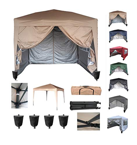 MCC direct Premier 3x3m Waterproof Pop-up Gazebo with Silver Protective Layer Marquee Canopy WS (Beige)