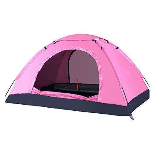 CNAJOI-TDFY Manuelle 1-lagige 3–4 Personen, Doppel-Ultraleichtes Familienzelt Camping Kletterzelt, UV-Schutz, wasserdicht, insektensicher, geeignet für Garten Camping, rose, 200X150X110CM