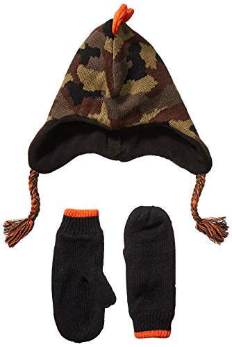 Spotted Zebra Boys' Kids Hat Scarf Mittens Gloves Cold Weather Accessories, Camo Dino Set, Small