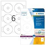HERMA Etichette per CD, Ø 78 mm, Etichette Adesive A4 per Stampante, 6 Etichette per Foglio, Bianco