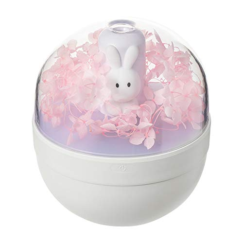 Humidificador de spray grande portátil, humidificador USB de flores eterno, uso de 220 ml para hasta 6 horas, siete colores de reemplazo de luz LED, apagado automático, humidificador para bebés-Pink