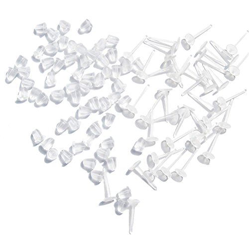 TOAOB 100 Pairs Plastic Earring Posts Flat Pad Blank Pin Studs and Clear Rubber Safety Backs Ear Stoppers Jewelry Making Findings