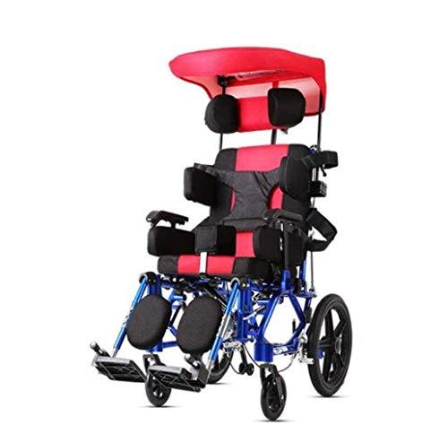 AWJ sillas de Ruedas Niños 26 kg Silla de Ruedas multifunción Advanced Ergonomic Comfort Reposabrazos Ajustables Patas traseras, sillas de Ruedas Plegable Ligero ✅