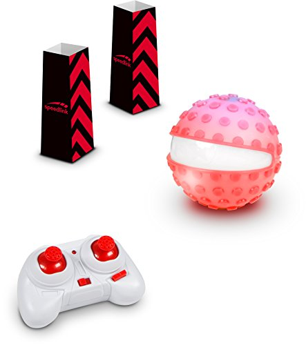 SPEEDLINK Ferngesteuerte Racing-Kugel - Racing Sphere Game Set RC (Silikon-Noppen-Hülle für Extra-Grip auf Sand und Erde - Richtungsanzeige durch weiße LED - Maximalgeschwindigkeit: 8km/h) Rot